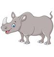 Cartoon happy rhino standing isolated vector image vector image