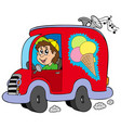 cartoon ice cream man in car vector image