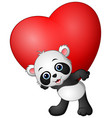 cartoon panda hold red heart vector image vector image