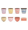 ceramic garden pots decorative icons vector image