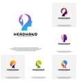 collection head care logo head intelligence logo vector image
