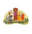 cute cartoon forest animals cheerful bear fox vector image