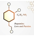 Dopamine molecule Love and passion concept vector image