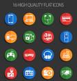 electronics supermarket 16 flat icons vector image vector image