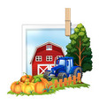 farmyard with tractor and barn vector image vector image