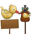 Flying bird and little bird in the bird house with vector image