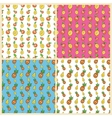 Fruits Seamless Background Set with Funny Lemons vector image vector image