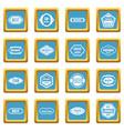 golden labels icons azure vector image vector image