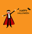 halloween card with friendly dracula in flat vector image vector image