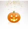 halloween pumpkin and falling golden confetti vector image