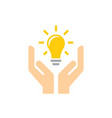 lightbulb in hands - icon design in flat vector image