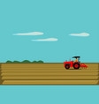 man is driving a red tractor in order to plow vector image