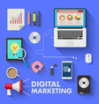 marketing technology digital media laptop business vector image
