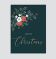 merry christmas floral greeting card invitation vector image