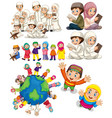 muslim families around world vector image vector image