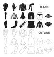 part of the body limb black icons in set vector image vector image