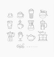 pen line coffee icons vector image vector image