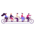 people on tandem bicycle young people group vector image vector image