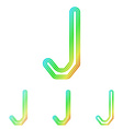 Rainbow line j logo design set vector image vector image