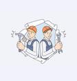 repairmen during construction work concept vector image