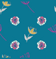 retro stylized roses tulips and branches on vector image vector image