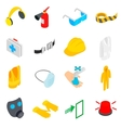 Safety icons set isometric 3d style vector image vector image