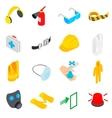 Safety icons set isometric 3d style