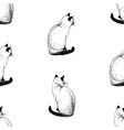 seamless pattern sketches sitting siamese cats vector image