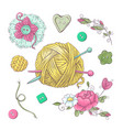 set for handmade knitted flowers and elements and vector image vector image