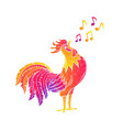 singing rooster cock vector image