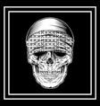 skull wearing bandana hand drawing vector image vector image