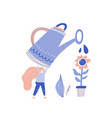 small woman gardening vector image