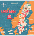 sweden symbols map with tourist attractions vector image vector image