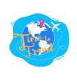 time to travel around world flat concept vector image