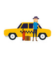 tourist woman with suitcases and taxi vector image vector image