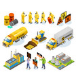 toxic waste isometric icons vector image