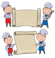 Two funny kids cook with banner scroll vector image vector image