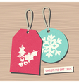 vintage style christmas gift tags in red and blue vector image vector image