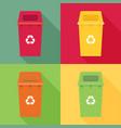 waste sorting garbage bin set waste management vector image