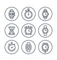watches line icons on white vector image