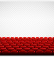 wide empty theater auditorium with red seats rows vector image