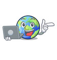 with laptop earth in the shape on character vector image