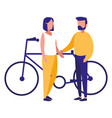 young couple in bicycle character vector image