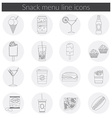 Snack Menu line icons set of food drink coffee vector image