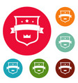 badge crown icons circle set vector image