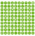 100 diving icons hexagon green vector image vector image