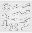 arrows pencil drawing dirty sketch style on vector image vector image