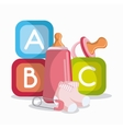 Baby bottle socks cubes and pacifier design vector image vector image