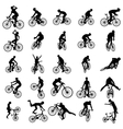 Bike silhouette set vector image vector image