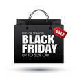 black friday shopping bag and sales tag on white vector image vector image